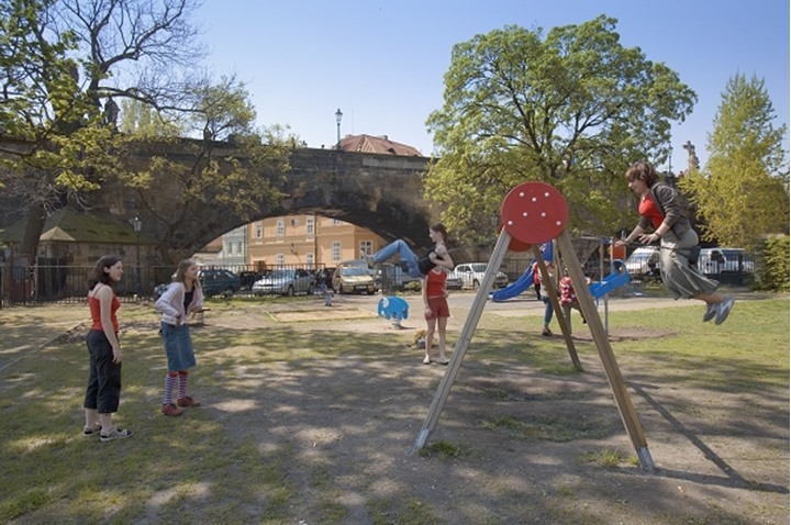 CZECH REPUBLIC PRAGUE LESSER TOWN MALA STRANA CHILDREN AT THE PLAYGROUND