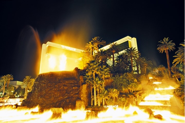 Volcano show occuring at night in front of hotel Las Vegas Nevada USA