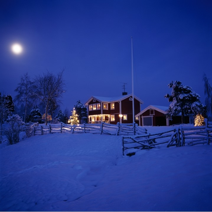 Christmas tree in front of a house, Baltorp, Västergötland, Sweden