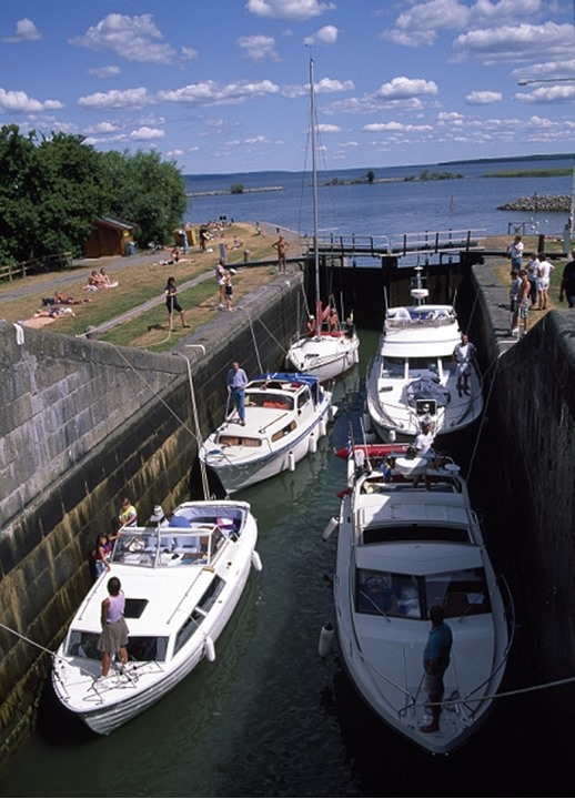 Boats in canal Bergsslussar Ostergotland.