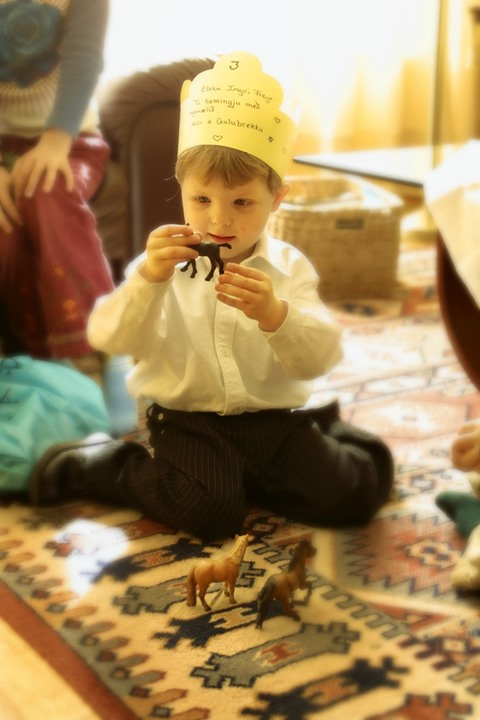 A little birthdayboy wearing a paper crown, sitting on the floor and playing with toy animals