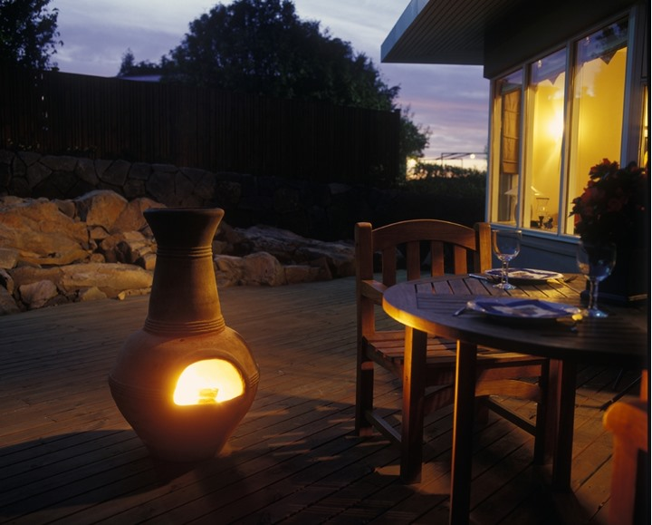 A portable fireplace outdoors