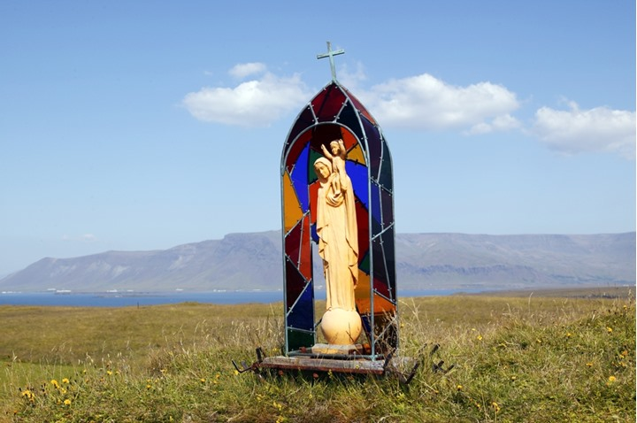 A Christian icon outdoors at Videy island, Iceland